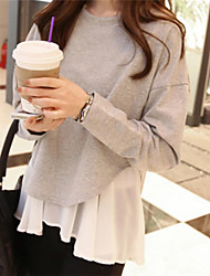 Women's Patchwork Gray Hoodies , Casual Round Neck Long Sleeve