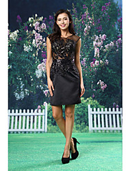 Cocktail Party Dress - Black Sheath/Column Bateau Short/Mini Satin