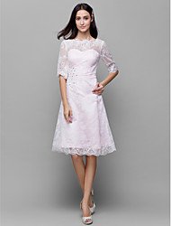 Knee-length Lace / Satin Bridesmaid Dress A-line Bateau with Beading / Lace