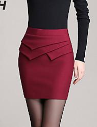 De las mujeres Faldas - Sobre la rodilla Para Trabajo/Tallas Grandes Microelástico - Licra/Poliéster
