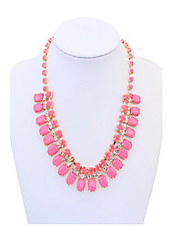 Korea Fashion Fluorescent Color Box Crystal Jewel Necklace Vintage/Casual Acrylic Choker