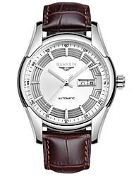 homens guanqin automática auto-liquidação relógio 100m calendário à prova de água de aço de cristal de safira e genuíno relógio de couro