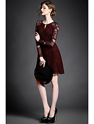 European and American High Quality  Embroidered Women Openwork Dress Hollow Lace Stitching Slim Long-sleeved Dress