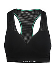 Women Polyester Spandex  Mesh Padded Knitted Breathable Running Gym Sports Seamless Bra