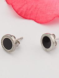 Women's Fashion Elegant Set of Two Stainless Steel Button Earring