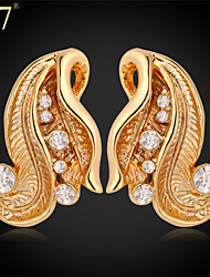 U7® Women's Clear Rhinestone Jewelry Platinum/18K Real Gold Plated Fashion Gold Earrings