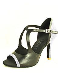 Customizable Women's Dance Shoes Leather Leather Latin / Salsa Sandals Customized Heel Beginner / Professional / Indoor / PracticeBlack /