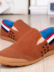 Men's Shoes Casual Fabric Loafers Blue/Brown
