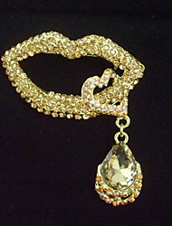 Charming Gold-tone Topaz Rhinestone Crystal Sexy Lip Brooch Pin Art Deco