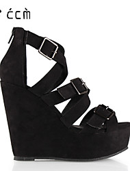 Women's Shoes 3 Buckle Wedge Heel Wedges/Platform/Gladiator Sandals Office & Career/Party & Evening/Casual Black Shoes