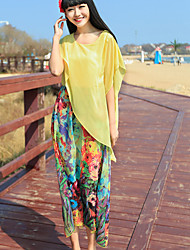 Women's Round Neck Flower Blouse , Chiffon Sleeveless