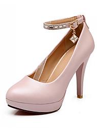 DamenBüro Kleid Lässig-Kunststoff-Stöckelabsatz-Pumps-Blau Rosa Weiß