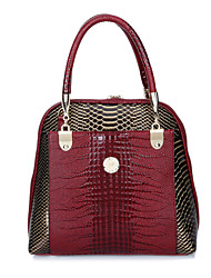 Women Tote PU All Seasons Event/Party Shell Clasp Lock Brown Red Black Blue