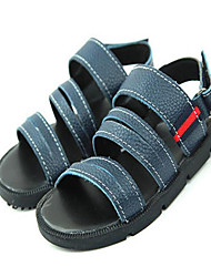 Boy's Summer Sandals Leather Casual Magic Tape Black / Blue / White