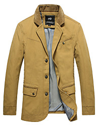 2015 Brand New Men Jackets Turn Down Asian Size Solid Khaki Color Fashion Men Clothing 112-3 7718 SP001592