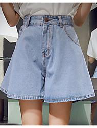 Women's Vintage/Casual Cotton/Denim  Pant Short Wide Leg Open Jeans