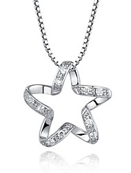 Fine Jewelry Cute/Party/Work/Casual Sterling Silver Pendant Necklace Body Chain Cz  Pentagram Statement Necklace