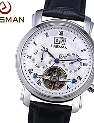 easman Marke Männer Uhren Herren echte 3 dai lfashion echtem Leder mechanische Armbanduhren Mode Skelettuhren Männer