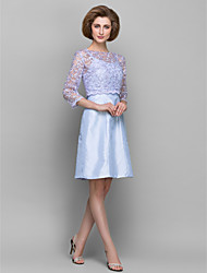 Sheath/Column Mother of the Bride Dress - Lavender Knee-length 3/4 Length Sleeve Lace / Taffeta