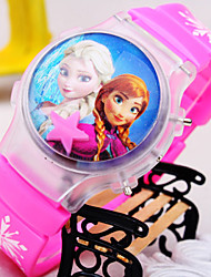 Kids' New Cartoon Flip Round Dial Snow Love Pattern Silicone Strap Light Digital Watch Cool Watches Unique Watches