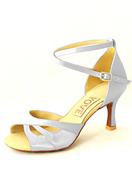 Customizable Women's Dance Shoes Satin Satin Latin / Salsa Sandals Customized Heel Indoor / Practice / BeginnerBlack / Blue / Yellow /