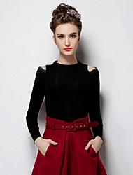 Chemise Aux femmes Manches Longues Mélanges de Coton