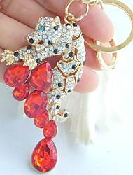 Purse Charming Leopard Key Chain With Clear & Red Rhinestone crystals