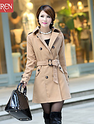 Muairen®Women'S Fashion Waist And Long Sections Woolen Coat Jacket
