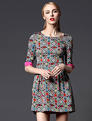 New Arrival!Round Neckline 1/2 length Sleeve Ethnic Printed  Figure Flattering high-waist  Design A-line Women Dress