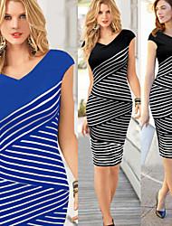 Women's Striped Blue / Black Dresses , Bodycon V-Neck Short Sleeve