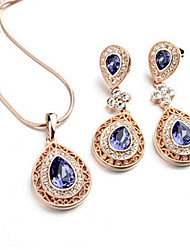 Lawei Women's Korean-style High Quality Simple Cute Mosaic Zircon Silver-plated Set