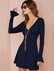 Women's V-Neck Dresses , Knitwear/Rayon Sexy/Casual/Party Long Sleeve Phylomeya