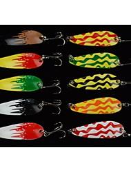 Hengjia 10pcs Spoon Metal Fishing Lures  Spinner Baits 6g 43mm
