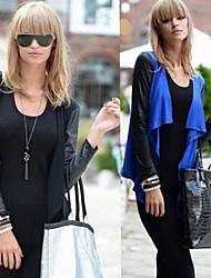 CEN     Women's Patchwork Blue / Black Coats & Jackets , Casual / Work Asymmetrical Long Sleeve