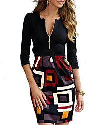 Women's V-Neck Zipper Dresses , Rayon Sexy/Casual/Party/Work ¾ Sleeve Phylomeya