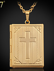 U7® Unisex Vintage Cross Bible Pendant Platinum/18K Real Gold Plated Jewelry Photo Locket Pendant Necklaces
