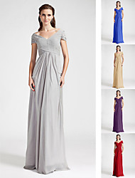 Floor-length Chiffon Bridesmaid Dress - Ruby / Grape / Royal Blue / Champagne / Silver Plus Sizes / Petite Sheath/ColumnV-neck /