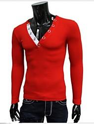 Nicholas  Men's V-Neck T-Shirts , Cotton Blend Long Sleeve Casual