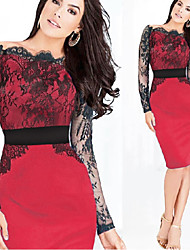 Women's Round Dresses , Lace/Rayon Sexy/Lace/Party Long Sleeve Phylomeya