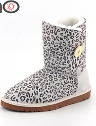MO Round Toe Boots Cowhide Leather Winter Boots Women's Shoes Suede Snow Boots Fashion Leopard Boots