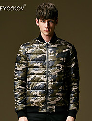 Men's Regular Down Coat , Feather/Others Long Sleeve