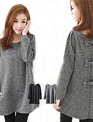 Women's Dresses , Tweed Casual/Work Long Sleeve Shibeini