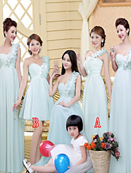 Multi Color One Shoulder Floor Length and Knee Length Bridemaid Dresses with Ruffles