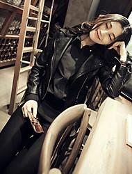 Women Faux Leather Motorcycle Jacket Outerwear/Top