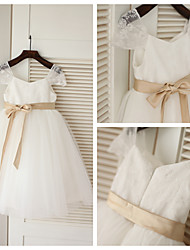 A-line Tea-length Flower Girl Dress - Lace/Tulle Short Sleeve