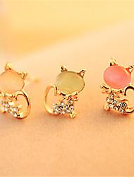 Korean Cute Cat Opal Stud Earrings Cute Platinum Plated/Gemstone & Crystal Stud Earrings