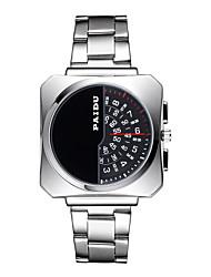 Fashion Watch Quartz Alloy Band Black Silver