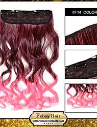 resistencia a altas temperaturas en dos tonos de 24 pulgadas de extensión peluca 5 clip de 16 colores f14 disponibles