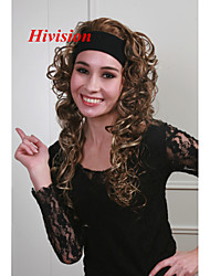 "New 3/4 Wig With Headband Light Reddish Brown with Blonde highlights 26"" Long Curly Women's Half Wigs"