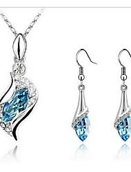 LJD Crsystal Diamond Horse Eye Necklace